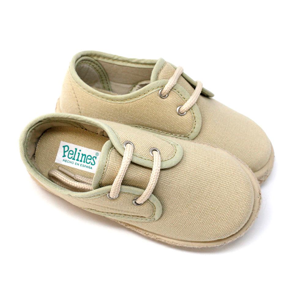 Alpargata blucher de lona en beige con cordones para niño y niña