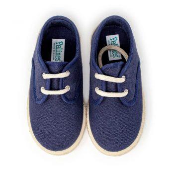 Alpargata blucher de lona en azul marino con cordones para niño y niña