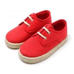Alpargata blucher de lona en rojo con cordones para niño y niña