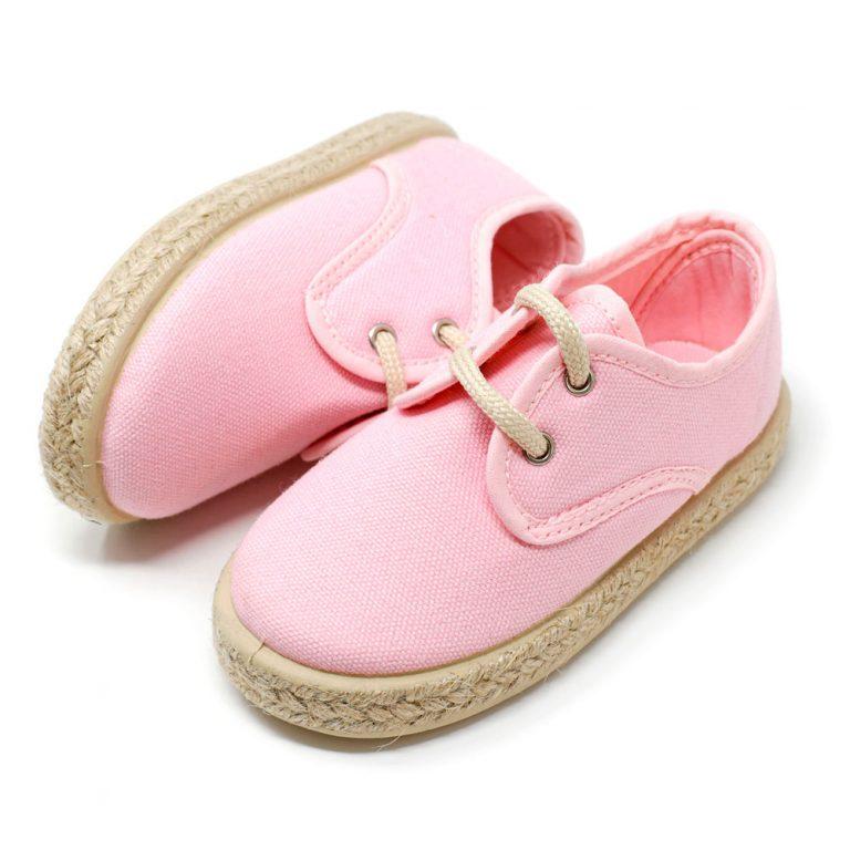 Alpargata blucher de lona en rosa con cordones para niño y niña