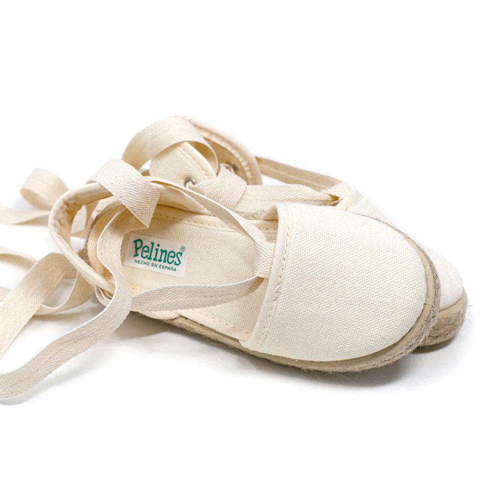 Alpargata valenciana crudo de yute con cinta lazada al tobillo, para niña