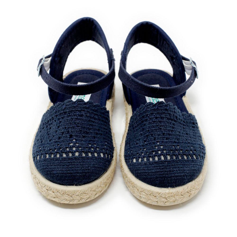 Alpargata valenciana de puntilla azul marino y yute con hebilla, para niña