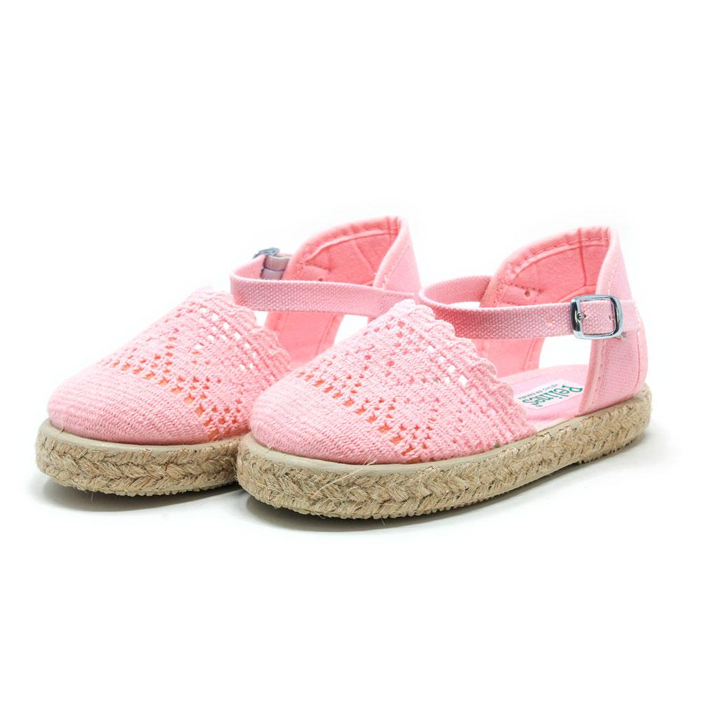 Alpargata valenciana de puntilla rosa y yute con hebilla, para niña