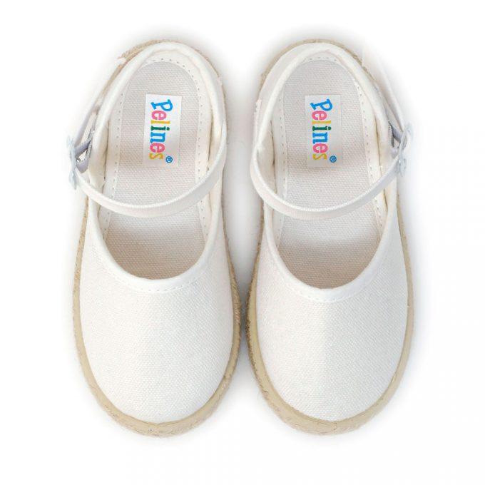 Alpargata valenciana blanca de yute con hebilla al tobillo para niña