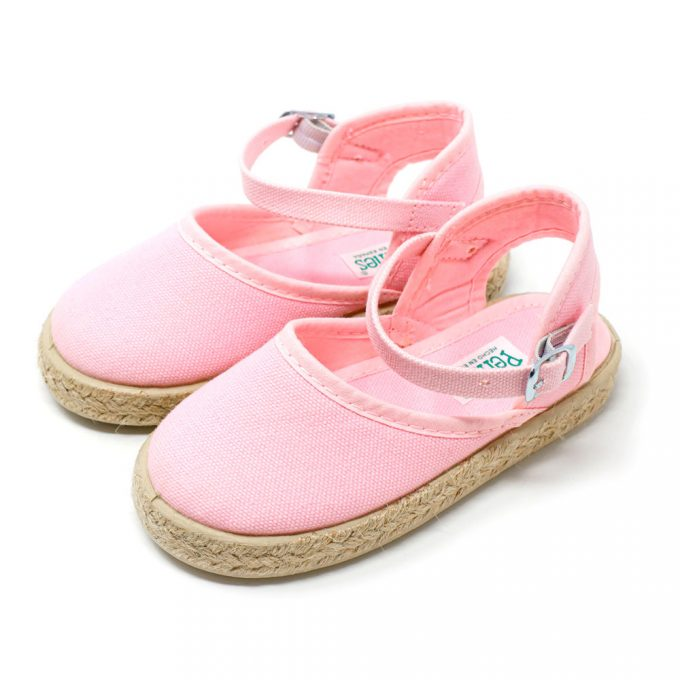 Alpargata valenciana rosa de yute con hebilla al tobillo para niña