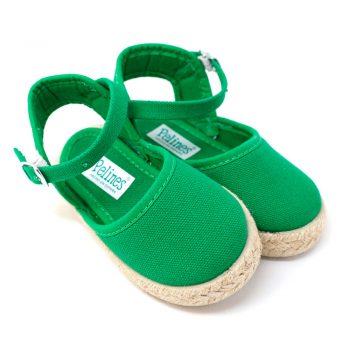 Alpargata valenciana verde de yute con hebilla al tobillo para niña