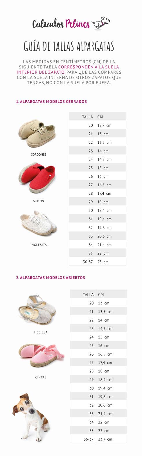 Guía de tallas alpargatas infantiles. Calzados Pelines
