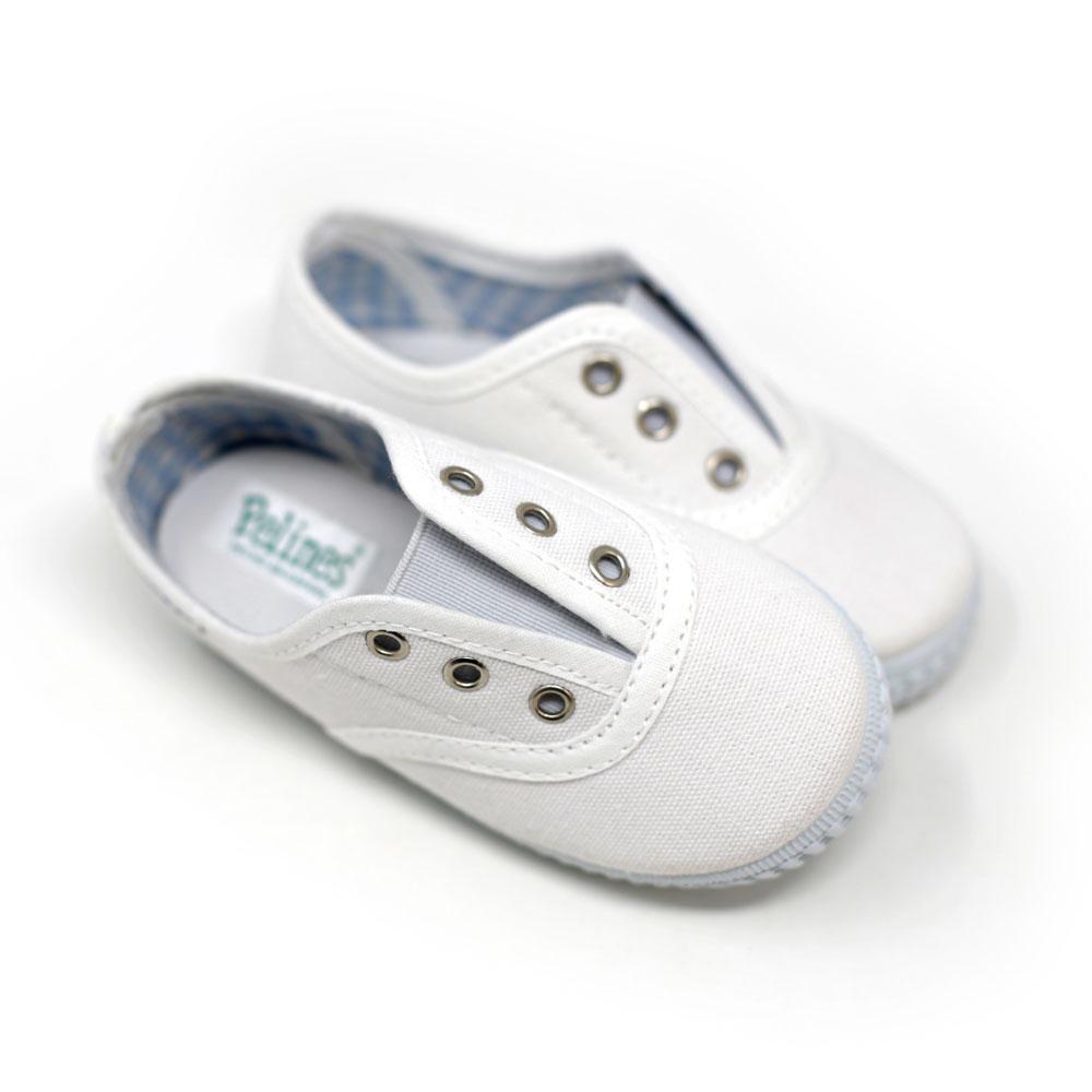Zapatilla Inglesita lona blanca con elástico sin cordones. Niño y niña