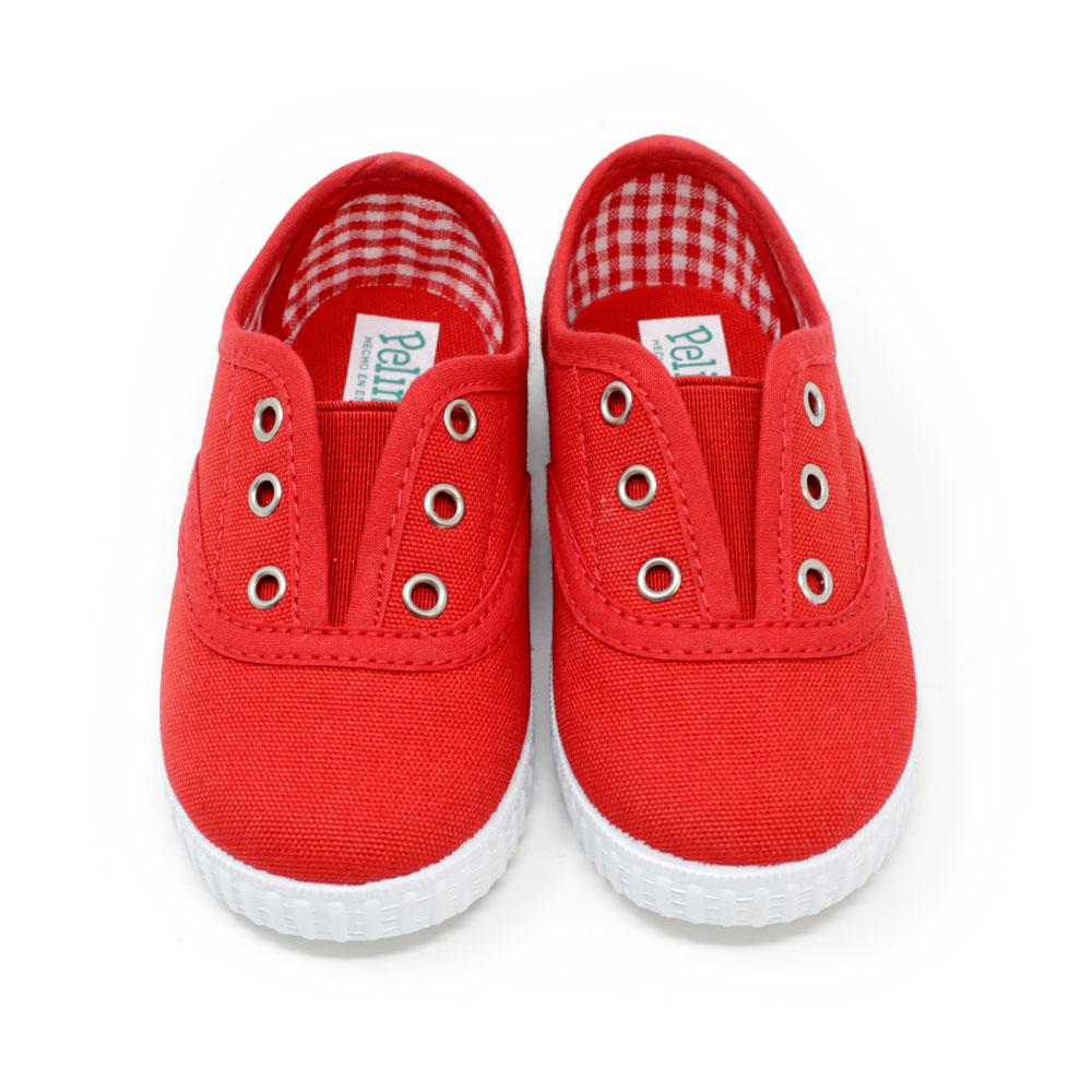 Zapatilla Inglesita lona roja con elástico sin cordones. Niño y niña