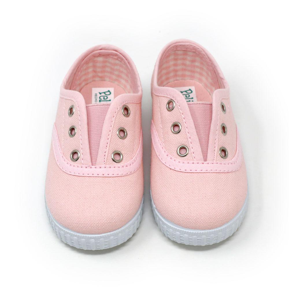 Zapatilla Inglesita lona rosa con elástico sin cordones. Niño y niña