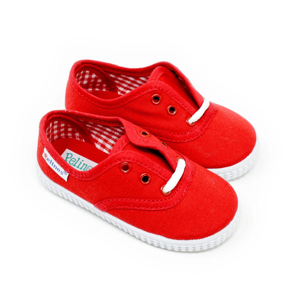 Zapatilla inglesita de lona color roja con cordones. Niño y niña