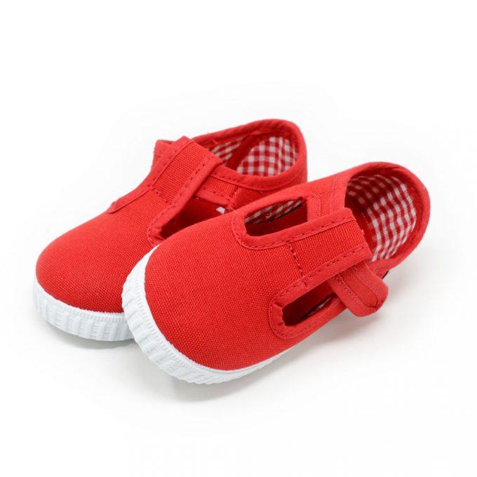 Pepitos de lona en color rojo con velcro y sin cordones. Niño
