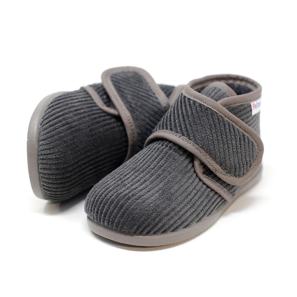 Bota de pana gris de andar por casa con velcro. Niño y niña