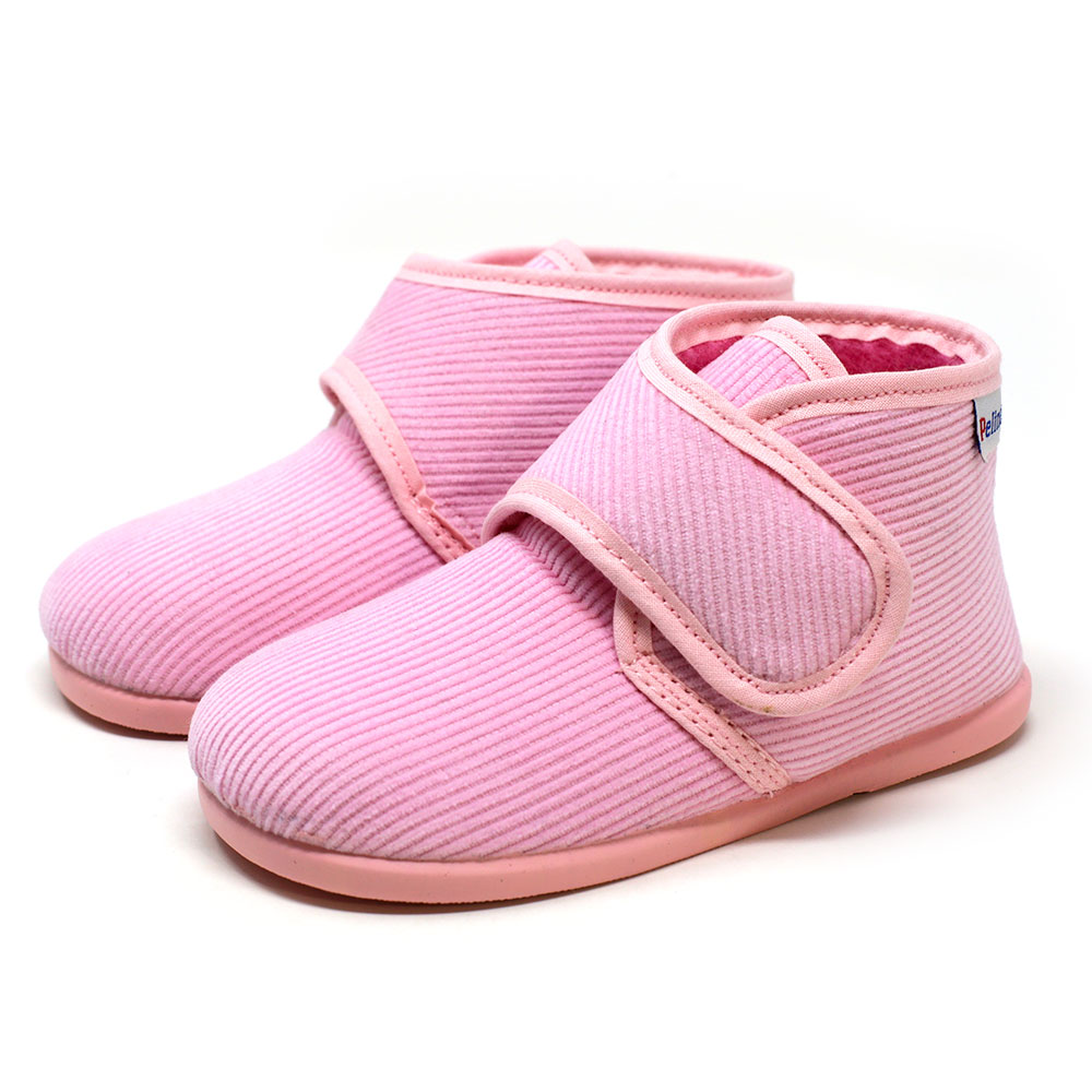 Bota de pana rosa de andar por casa con velcro. Niño y niña