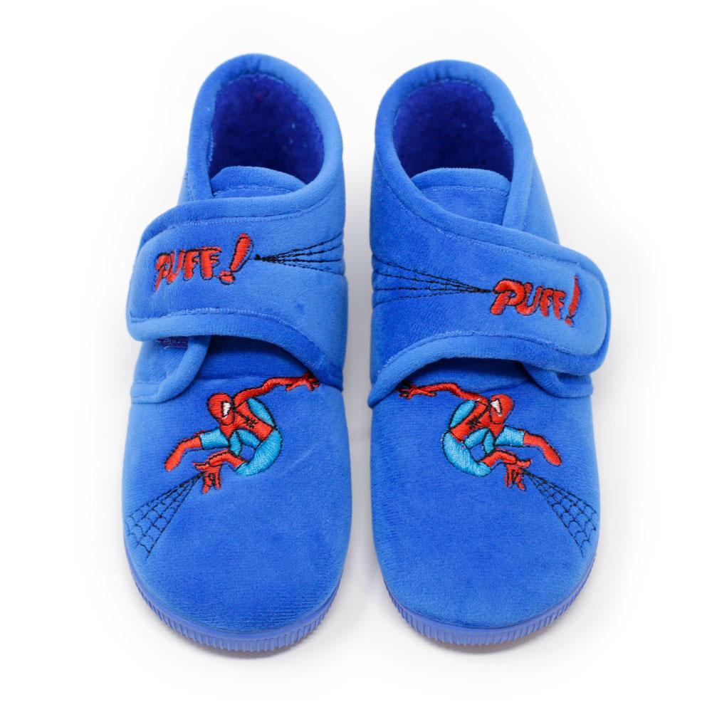 Bota spiderman bordada azulón de andar por casa con velcro. Niño