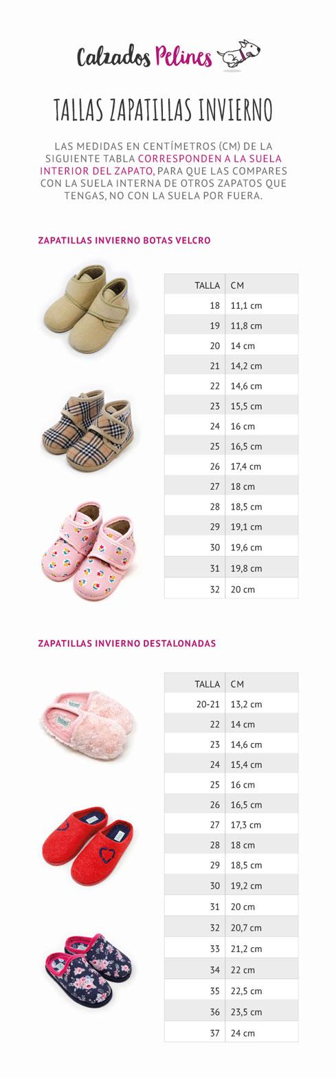 Tallas Calzados Pelines zapatillas invierno