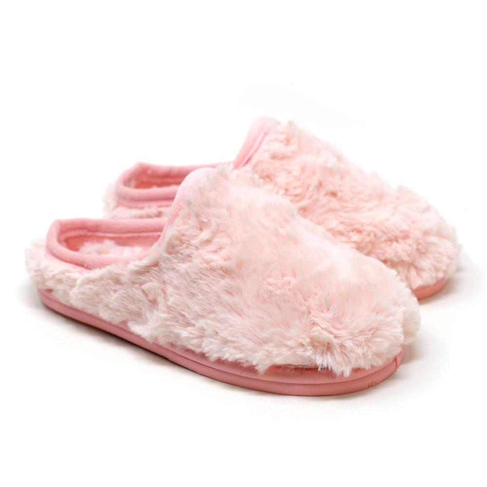 Chinela de andar por casa destalonada rosa de pelo con flores. Niña