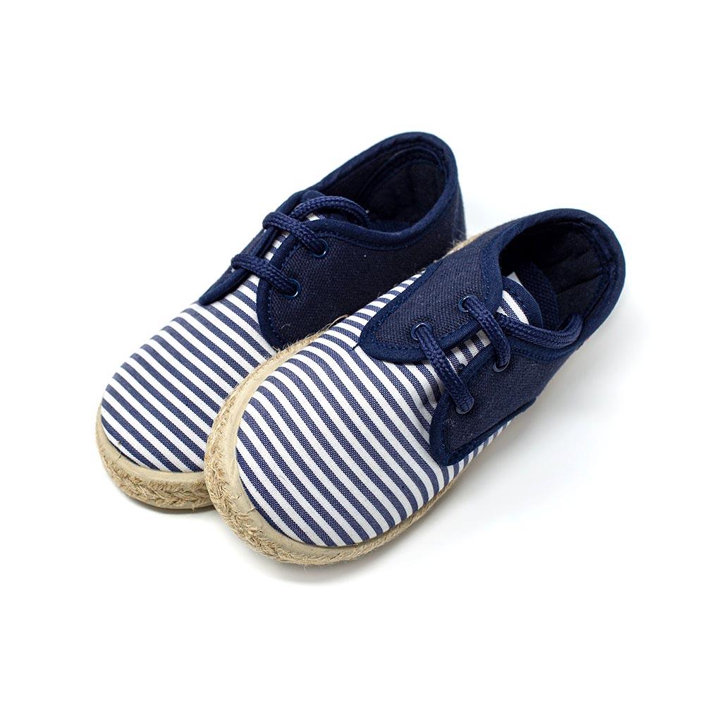 Alpargata blucher yute lona azul y rayas blancas con cordones niño