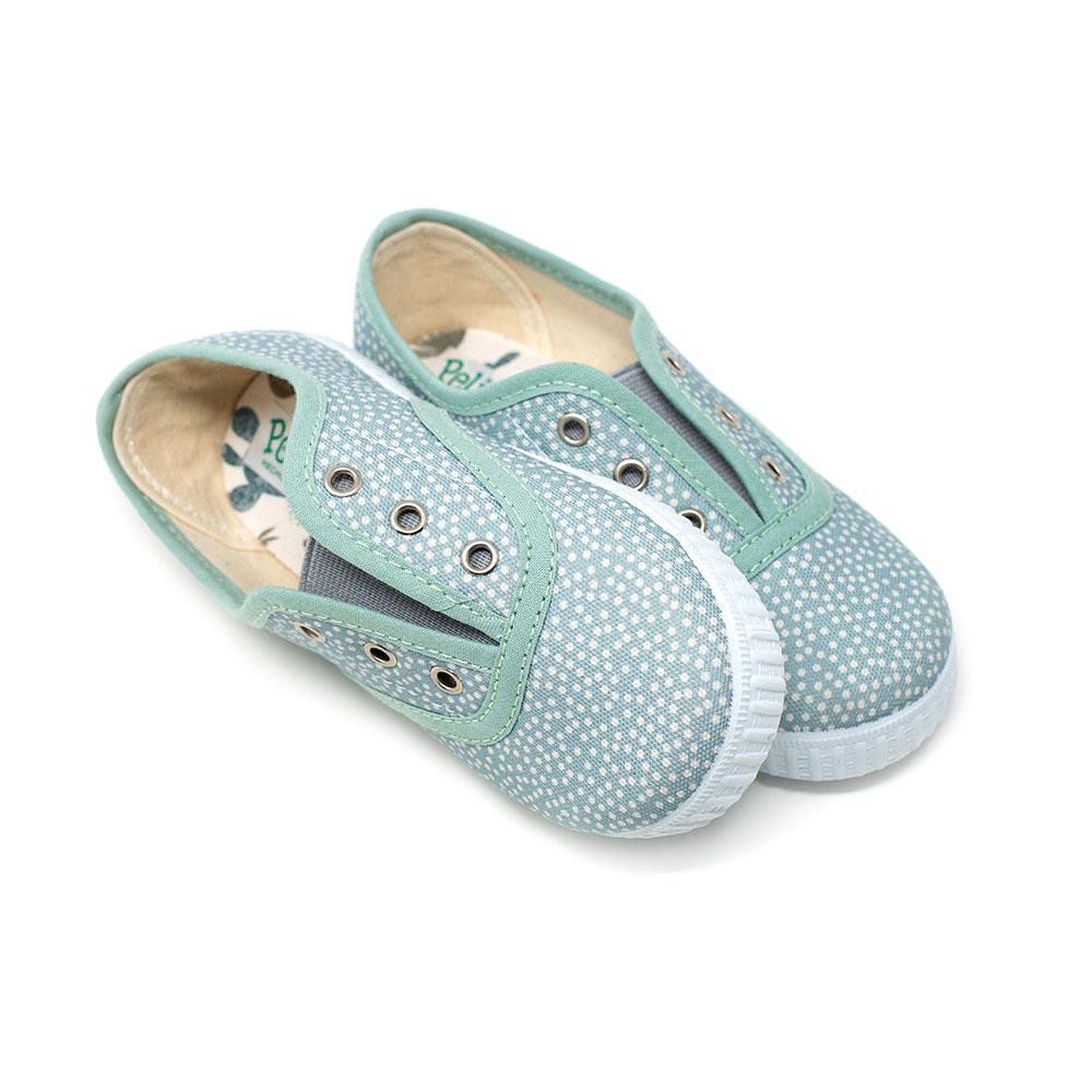 Zapatilla lona inglesita azul con puntitos. Elásticos. Niño y niña
