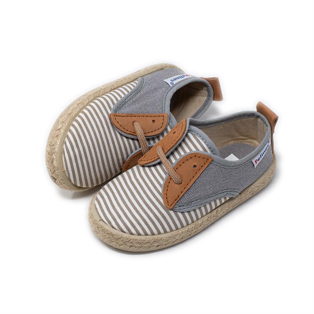 Alpargata blucher de lona con estampado a rayas grises para niño